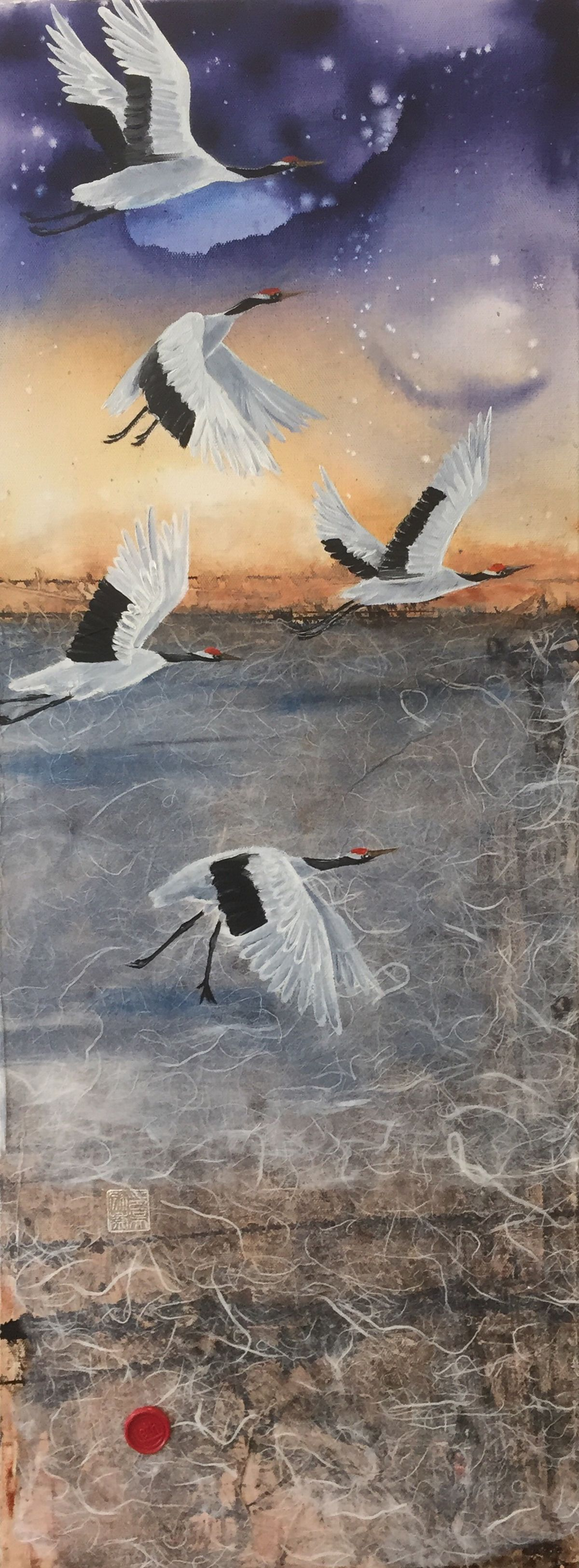 five cranes of luck 70*30 cm